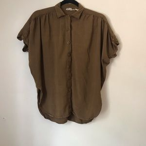Tops - Brown Short Sleeve Button Up